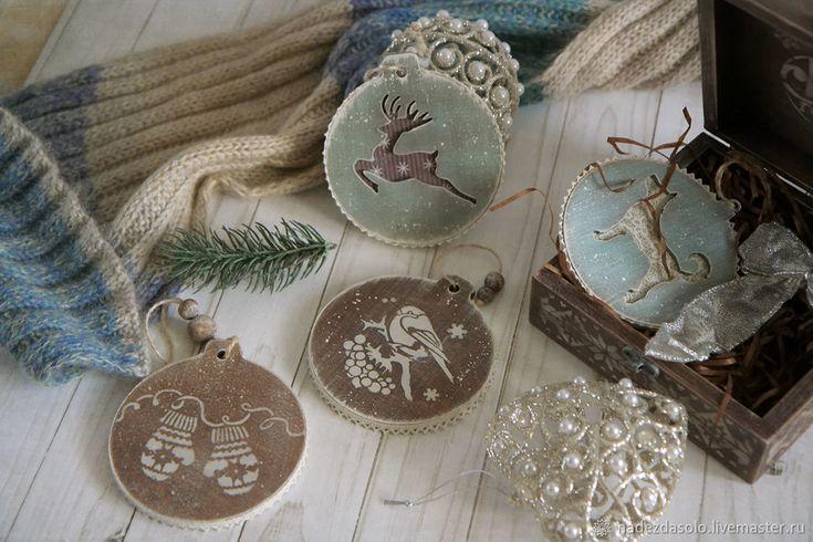 Купить Набор новогодних подвесок Рустик. Декупаж - новогодние игрушки, елочные украшения, подарок на новый год