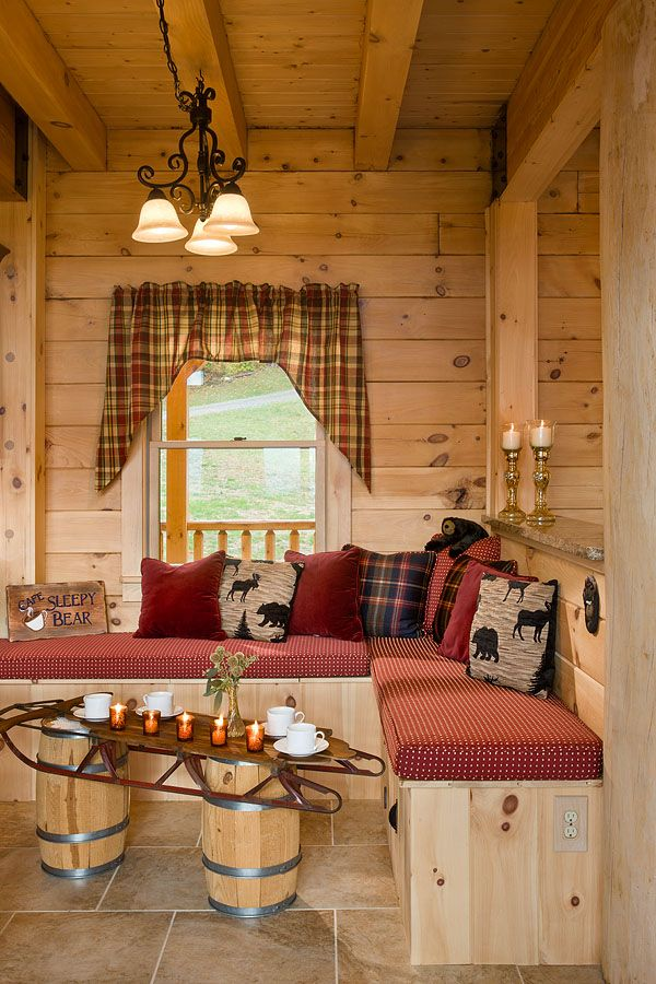 25 best ideas about log home decorating on pinterest for Cabin kitchen backsplash ideas