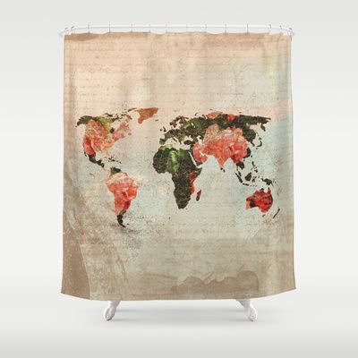 Delightful Vintage World Map Shower Curtain