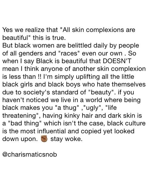 Forreal. Before I graduated highschool i would hear classmates talk about how he or she is too dark or too black ( speaking about others and themselves ). Wtf kinda $hit is that ??? Too black. BLACK people embrace your skin color and go bathe in so coco butter and understand : eventho they try to , nobody compare 👸🏾👸🏿