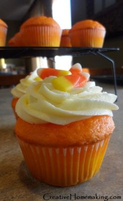Candy Corn Cupcake Recipe! Great treat for a Halloween Party!