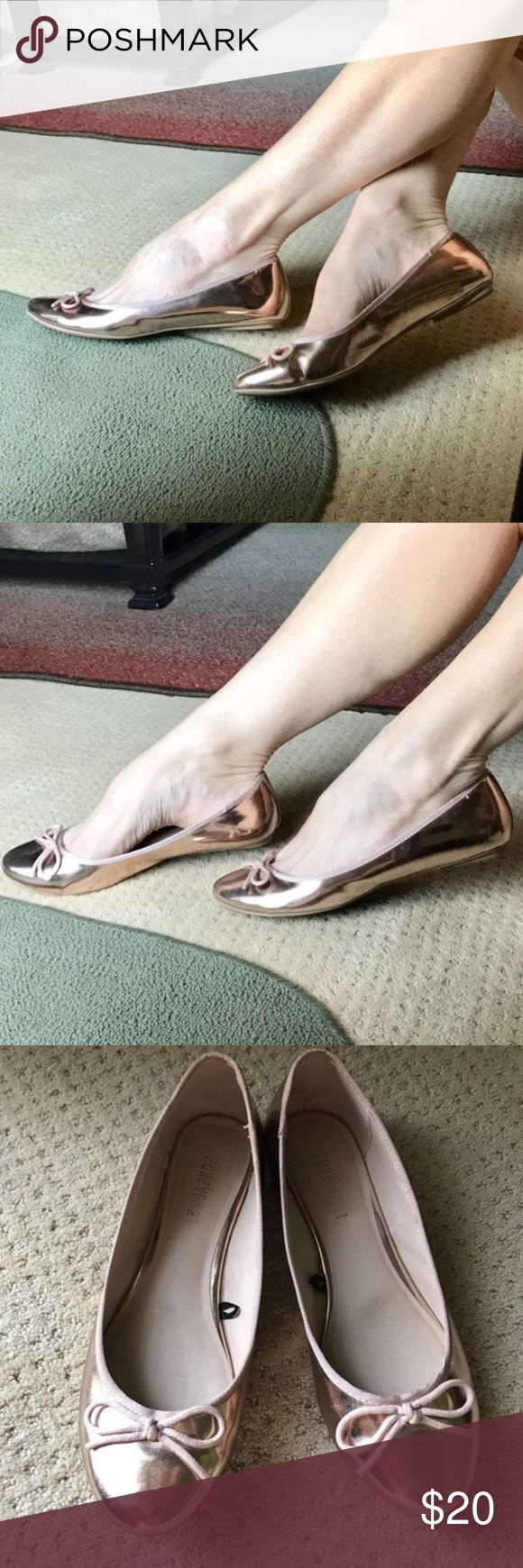 ROSE GOLD FLATS ballet shoes mirrored SZ 8.5/9 Lovely rose gold ballet flats in a mirrored patent, grosgrain trim, and bow toe. Marked as a 9, fits a 8.5 better. So pretty!..the color of the season!  F22 Forever 21 Shoes Flats & Loafers