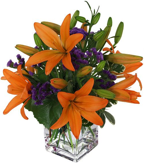 flower arrangement that include lillies  | Canada Flowers > USA Flower Delivery > Any Occasion Flowers > Orange ...