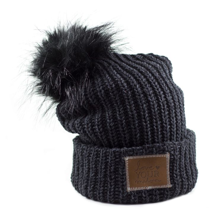 Smoke Cuffed Pom Beanie (Black Pom) – Love Your Melon please buy me this. It's for a great cause and I love the hat!!