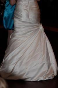 bubble wedding dress back bustle closeup