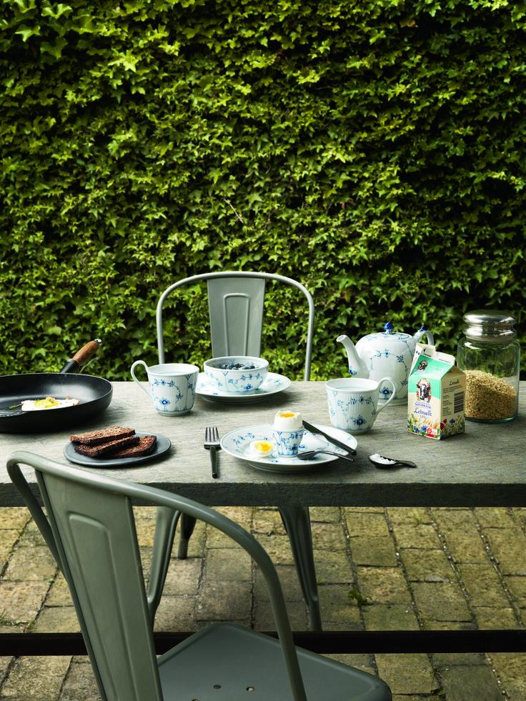 Summer breakfast table setting, Blue Fluted Plain.