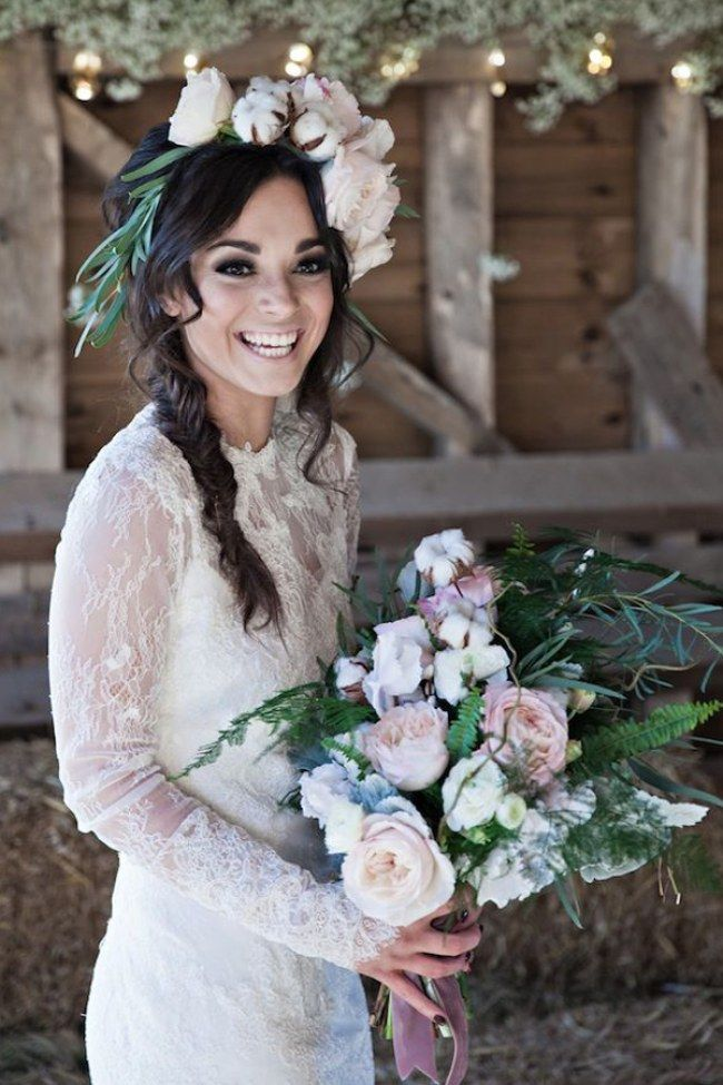 Bohemian Brunette Wedding Hairstyles