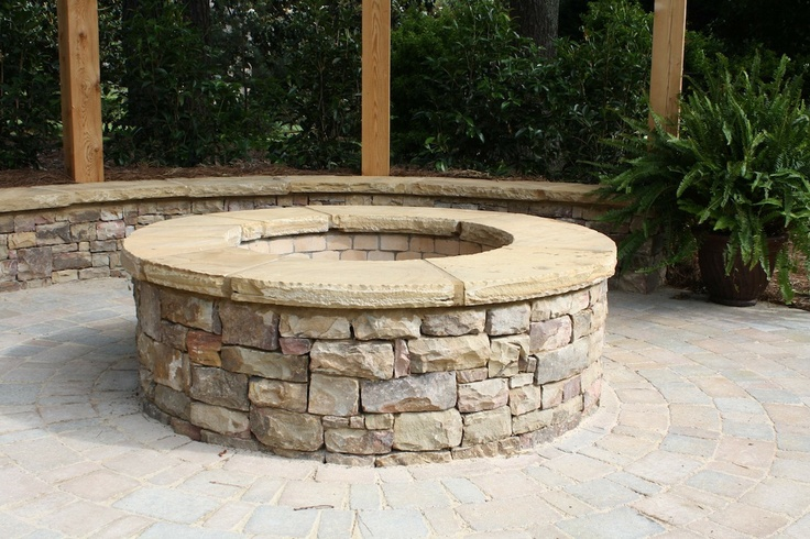 Stacked Stone Firepit With Flagstone Cap Fireplaces And