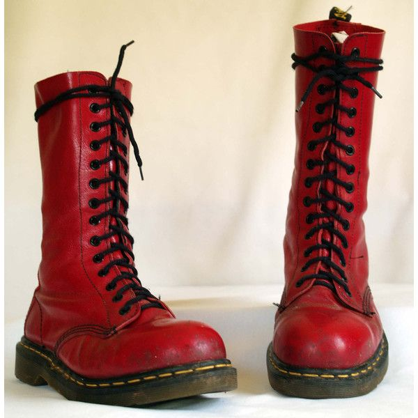 vintage dr martens. lace up steel toe grunge. red combat style boots. (5760 ALL) ❤ liked on Polyvore featuring shoes, boots, ankle booties, punk boots, lace up combat boots, red ankle booties, combat booties and combat boots