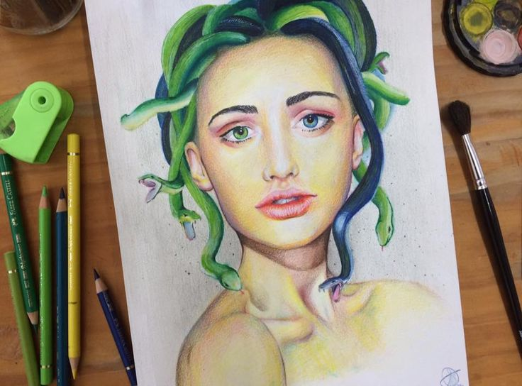Medusa by Shanay #colour pencil #watercolour #drawing