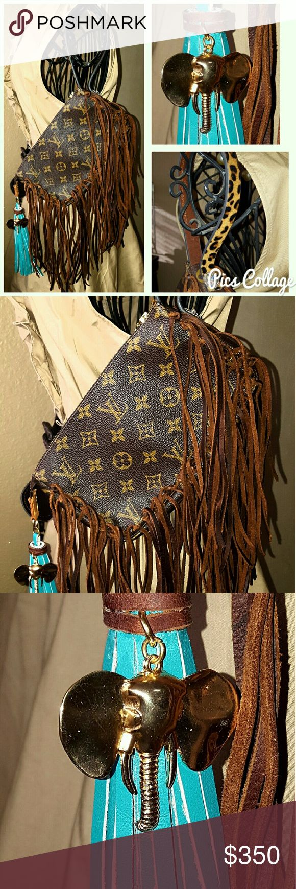 Authentic Vintage Louis Vuitton Wrislet Fully customized long brown fringe leopard strap and elephant charm with turquoise tassel Louis Vuitton Bags Clutches & Wristlets