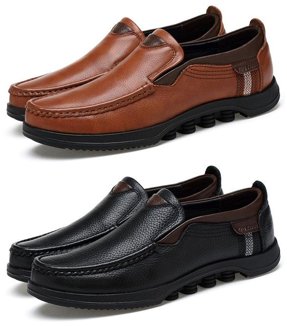 15410ec782c4 US$60.42 Men Large Size Cow Leather Slip On Soft Casual Shoes#shoes ...