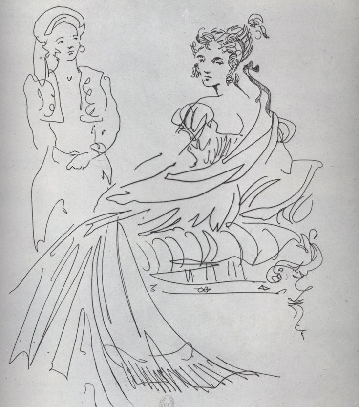 Christian Bérard, Empress Josephine  Illustration for Queens of France by Jean Cocteau and Guillaume, 1949  Drypoint