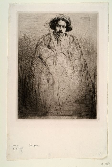 Drypoint - Becquet (the Fiddler) by James A McNeill Whistler