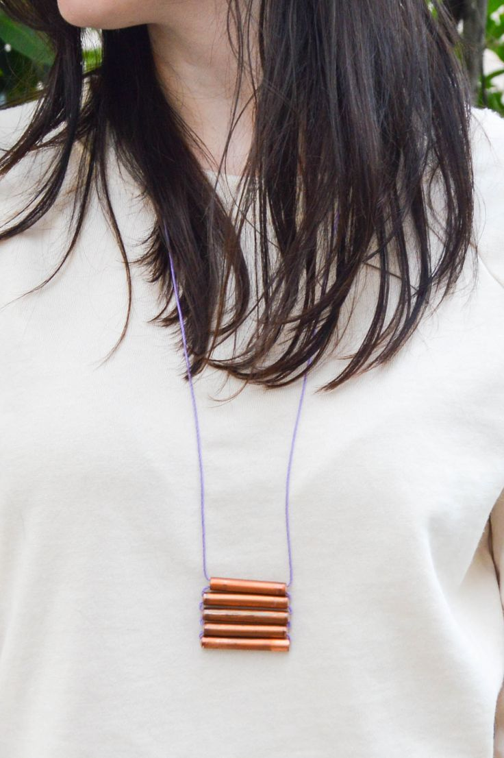 DIY Layered Copper Pipe Pendant Necklace