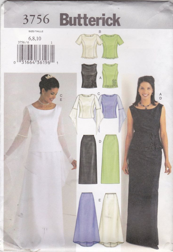 17 best bridal includes accessories images on pinterest wedding womens princess seam top and evening length skirt oop butterick sewing pattern 3756 size 18 20 22 bust 40 42 44 wedding bridesmaid evening ombrellifo Choice Image
