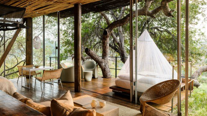 Singita Lebombo, Kruger National Park - SOUTH AFRICA. This is built on a woodland hillside on a private concession in the Kruger and overlooks the N'Wanetsi River.