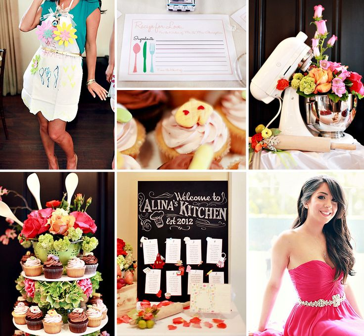 For a chef and Bride-to-Be, this Creative Kitchen Themed Bridal Shower is filled with gorgeous blooms, chef's tools and more playful cooking inspired decor + ideas!  #BridalShower #Kitchen http://hwtm.me/124962N