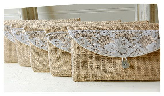 burlap lace bag clutch set 3 4 5 6 rustic wedding rose color choice purse Personalize Bridesmaid party Custom Pouch gift MakeUp on Etsy, $19.00