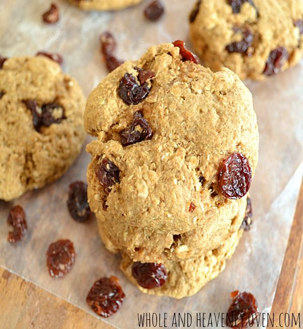 Banana Oatmeal Cherry Cookies--- Now you can indulge in cookies that are actually beneficial to your health! Made with whole, all-natural ingredients, these soft and chewy cookies are filled with lots of banana flavor, nutty oats, and tart dried cherries. wholeandheavenlyoven.com