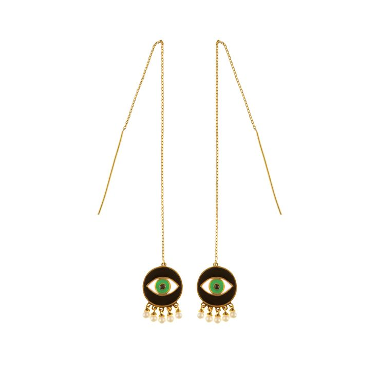 Dia earrings | $69. Drop thread earrings crafted in 9ct gold plating, with large evil eye pendant motifs in black, green and white enamel, and imitation pearl details. Shop now: http://www.savethelastpinker.com.au/shop/dia-earrings/
