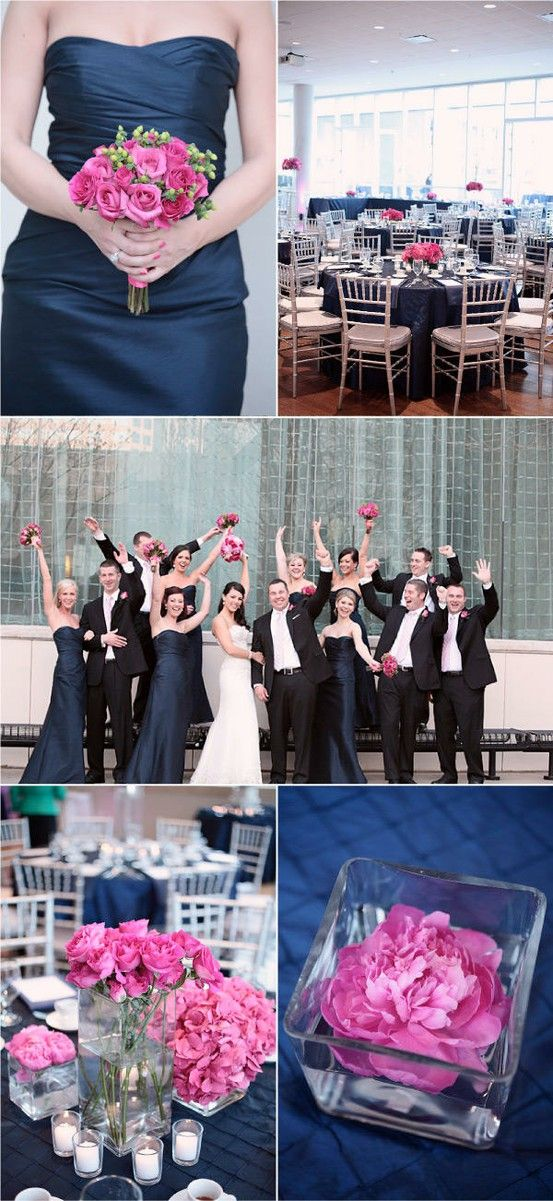 Wedding color trends Stylish Patina www.stylishpatina.com, Vintage rentals!   Navy and hot pink wedding colors are amazing.. NO black suits