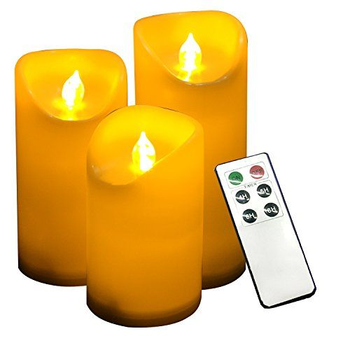 "Candle Choice Set of 3 Outdoor Flameless Candles with Remote and Timer, LED Pillar Candles, Weatherproof Waterproof Battery Operated Candles, Candles, Long Battery Life, Size 3""x5"", 6"", and 7"""