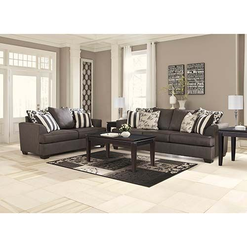 Signature Design By Ashley Levon Charcoal Sofa And Loveseat Room View Living Room Collections Charcoal Living Rooms Living Room Furniture