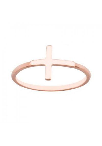 Anillo sortija cruz plata/oro rosa #cruz #anillo #sortija #moda #plataororosa #joyas #joyeria #joyeriaonline
