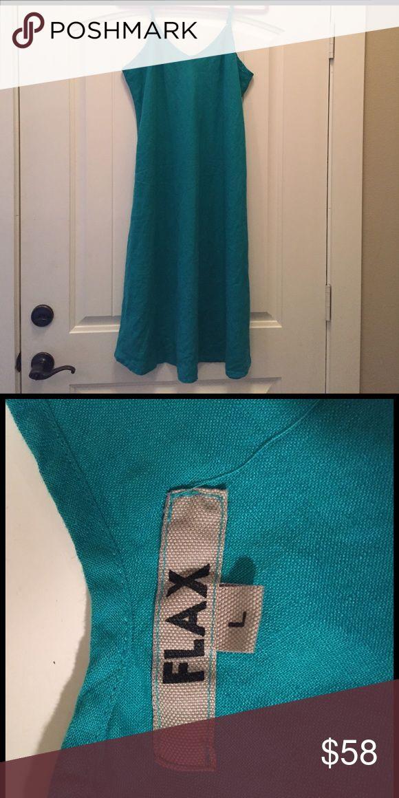 Flax dress NWOT teal, linen dress by Flax. Adjustable straps. Size L. Flax Dresses Midi