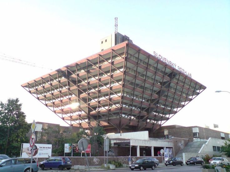 This radio building in Bratislava, Slovakia, took 16 years to build — mostly because it's basically upside down.