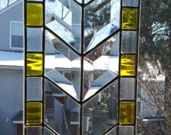 Stained Glass Panel Blue Green & Beveled by GlitzAndGrandeur