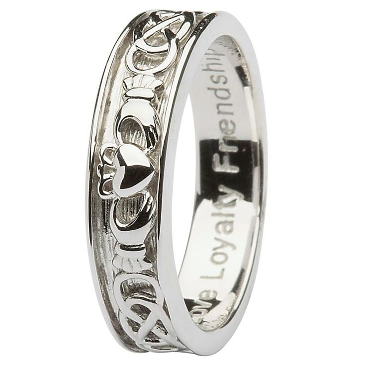 Gents Silver Claddagh Celtic Wedding Ring