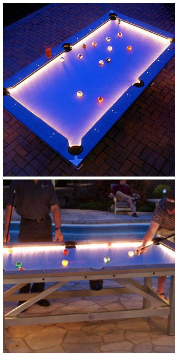 Бильярдный стол для игры на открытом воздухе в ночное время с встроенной светодиодной системой освещения