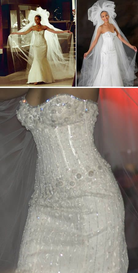 World's Most Expensive Wedding Dress. This $12,000,000 creation, known as The Diamond Wedding Gown, is the most expensive wedding dress in the world to date. The luxurious design is the result of collaboration between Renee Strauss (owner of a super successful, wedding salon in Beverley Hills) and Martin Katz, a rare jewel dealer. The dress itself uses over 150 carats of diamonds and to give you an idea of what this means, the typical engagement ring rarely hits a full carat.