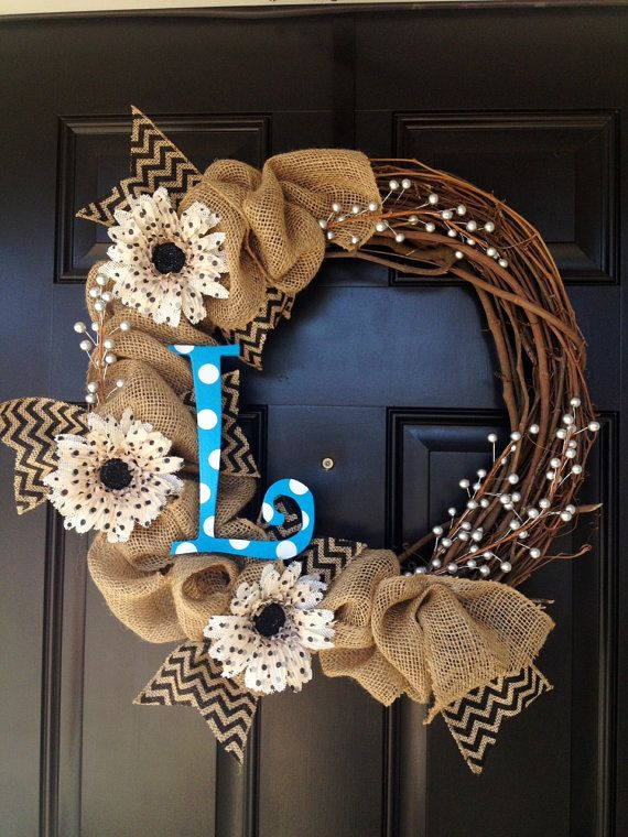 Burlap Wreath with Polka Dot Letter by TwistedandTwizzled on Etsy, $57.00