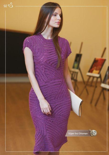 Фиолетовое платье крючком. Летнее платье спиральными мотивами  