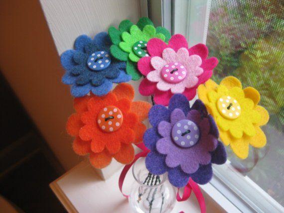 Feltro colorido Botão Flor e Polka Dot Bouquet, apreciação do professor, aniversário, housewarming, obrigado, a graduação