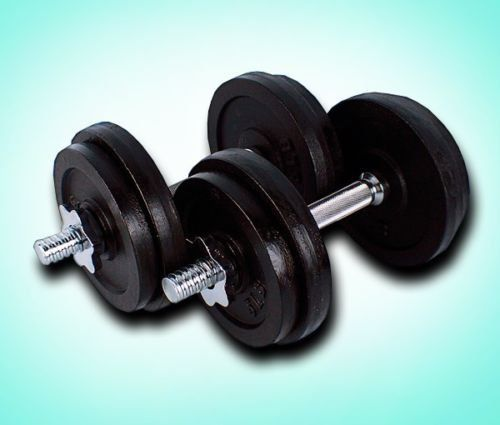 One Pair of 40lbs Cast Iron Adjustable Dumbbells. Gym Quality Cast Iron Adjustable Dumbbell 2x20lbs total 40lbs. Includes 2 Handles, 4 Collars, Four 5lbs plates, Four 2.5lbs plates. Easy to set up and no tools required. To add more weight, Check ASIN#B00LZ8ZWSG. 2 Handles and 4 Collars Weight 10lbs.
