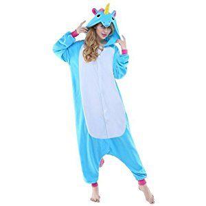 Einhorn Pyjamas Kostüm Jumpsuit Tier Schlafanzug Erwachsene Unisex Fasching Cosplay Karneval