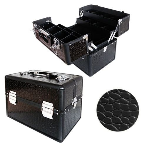 Valise maquillage et esthétique compartimentée croco Noir