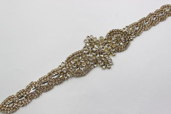 applique d'or trim, mariée Applique, garniture, bordé de strass, strass applique, ceinture de cristal, ceinture, bandeau de mariage bandeau or