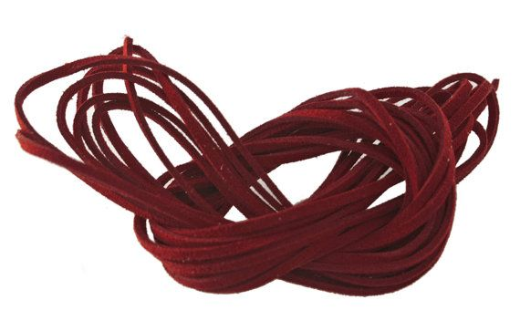 Red Velvet: Faux Suede Leather Cord (Microfiber), 3mm x 15ft bundle (5 yards) / DIY Cord Supplies, Faux Suede Lace, Vegan Suede Cord