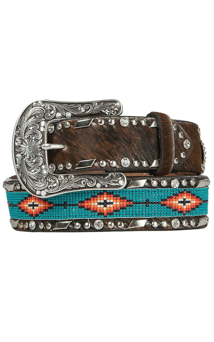 Ariat Women's Brown Cowhide with Turquoise Aztec Beaded Center Western Belt A1515402 | Cavender's