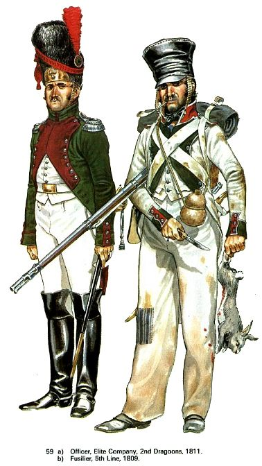 Ufficiale della compagnia di élite del 2 rgt. dragoni e fuciliere del 5 rgt. fanteria di linea italiani