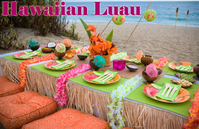 Grass skirts - not for eating tables (itchy!) but maybe for dessert table, gift table, etc?