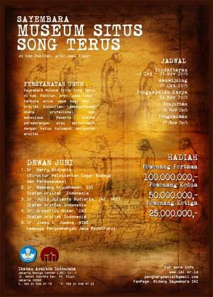#Sayembara #SayembaraArsitektur #MuseumSitus #SongTerus #Pacitan #IAI #IkatanArsitekIndonesia Sayembara Desain Arsitektur Museum Situs Song Terus 2015 Berhadiah 175 Juta Rupiah  DEADLINE: 24 November 2015  http://infosayembara.com/info-lomba.php?judul=sayembara-desain-arsitektur-museum-situs-song-terus-2015-berhadiah-total-175-juta-rupiah