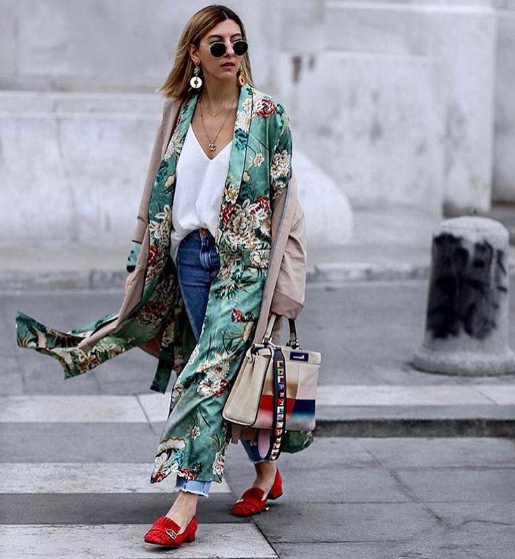 Silk robe / Gucci shoes / Fendi bag