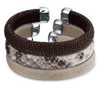 Roggen lederen armbanden, slangenprint design en glad leer. Rays leather , snakedesign en flat leather bracelets
