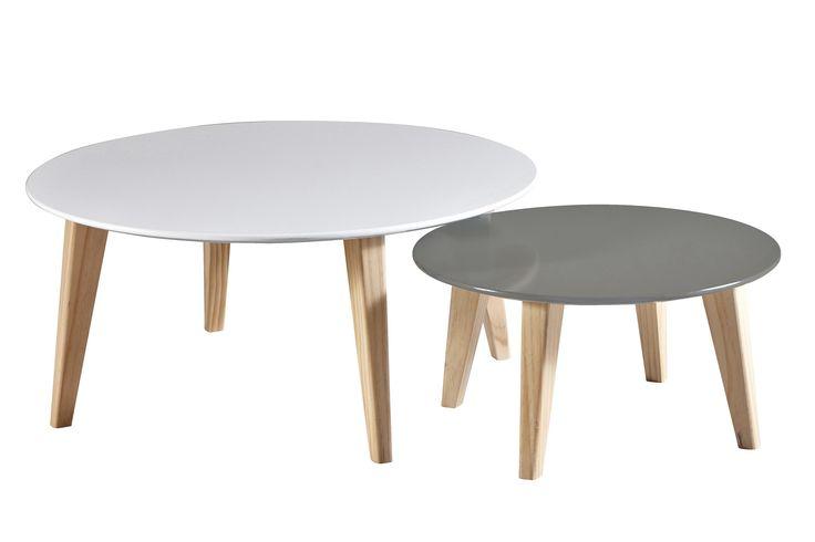 Badenia Soffbord Set 2st Rund Vit/Grå Högglans